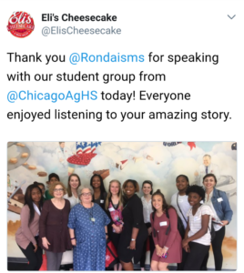 Eli's Cheesecake, Ronda Lee, Chicago Agricultural High School
